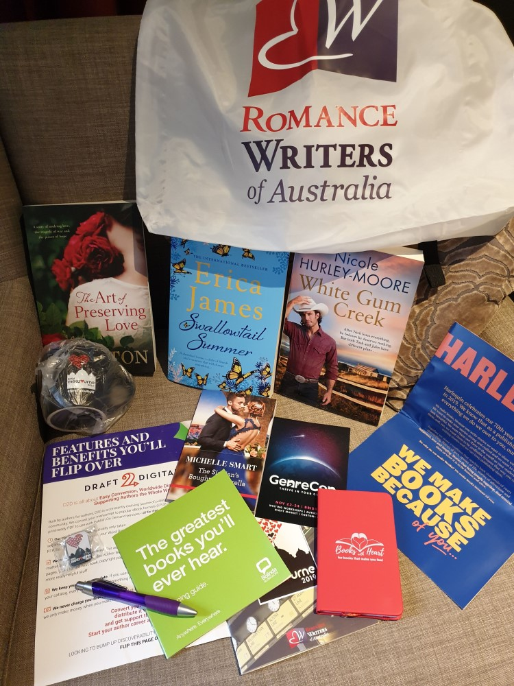 Conference goodie bag contents, 2019 Romance Writers of Australia conference