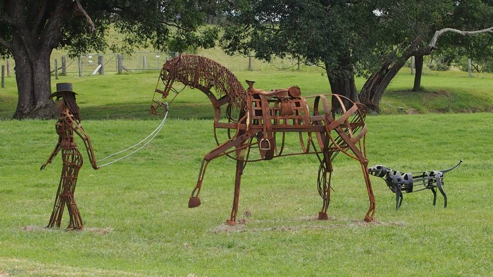 Sculpture on the Farm. Dusty Days in the Saddle by Sam Anderson.