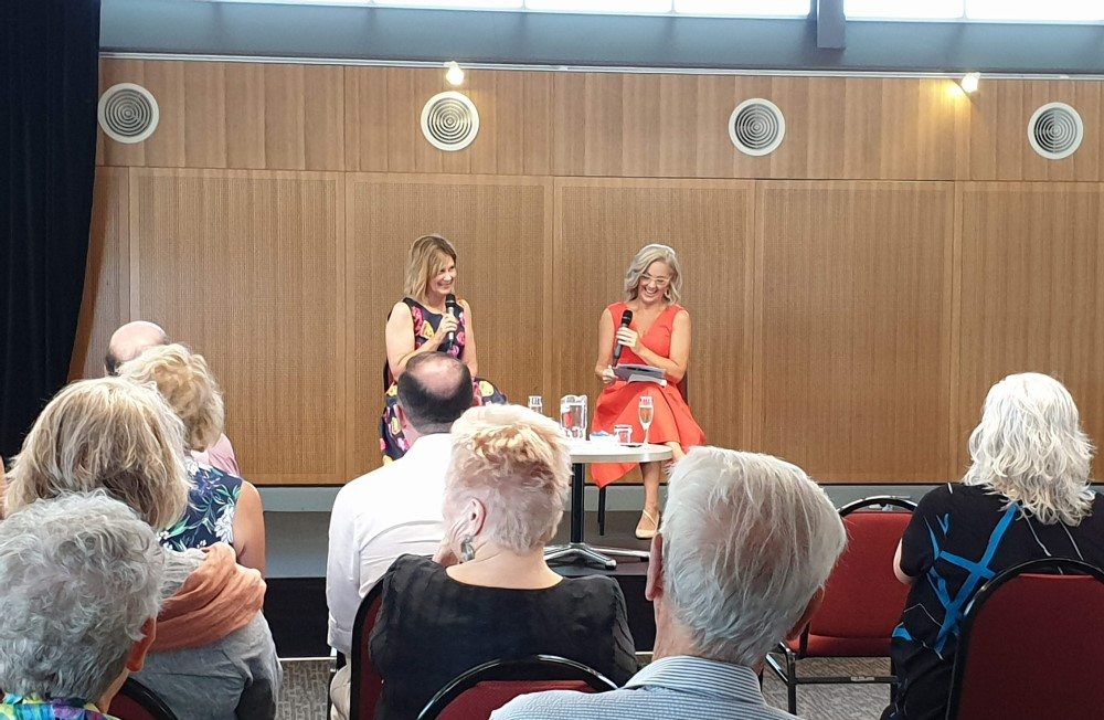 Lee Christine talking at her Charlotte Pass book launch