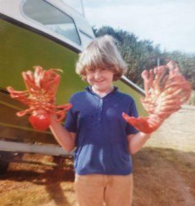 Cathryn with crayfish