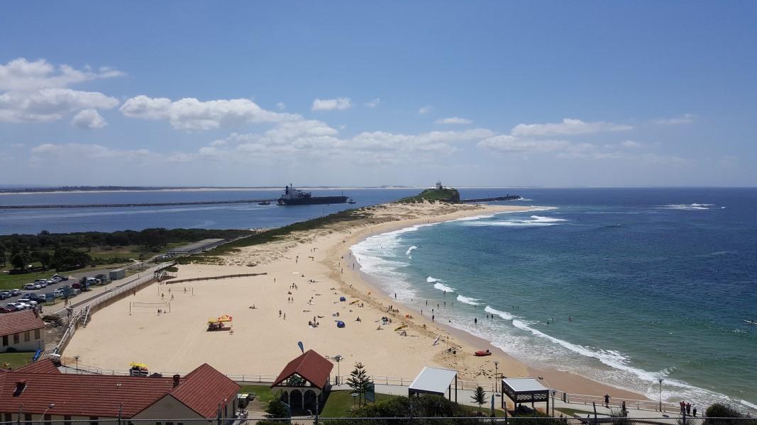 View over Nobbys Beach, Newcastle, Australia