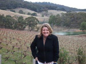 Cathryn Hein visiting a Great Western vineyard