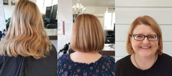 Cathryn before and after haircut photos